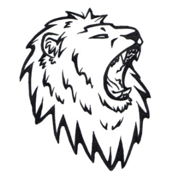 350x350 Simple Black And White Roaring Lion Head Tattoo