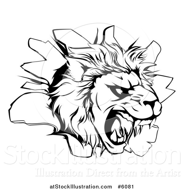 600x620 Vector Illustration Of A Black And White Roaring Lion Head