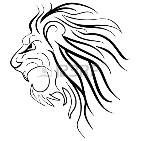 450x450 Graphic Silhouette Roaring Lion. Lion Tattoo Ink Sketch Royalty