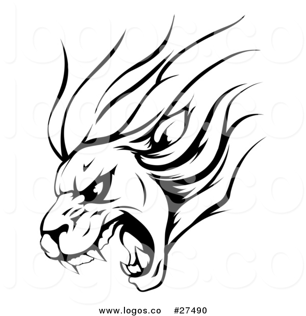 600x620 Vector Logo Of A Black And White Tough Roaring Lion Sports Mascot