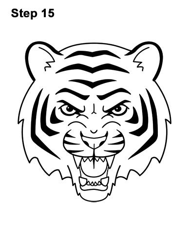 386x500 How To Draw A Tiger Head (Cartoon)