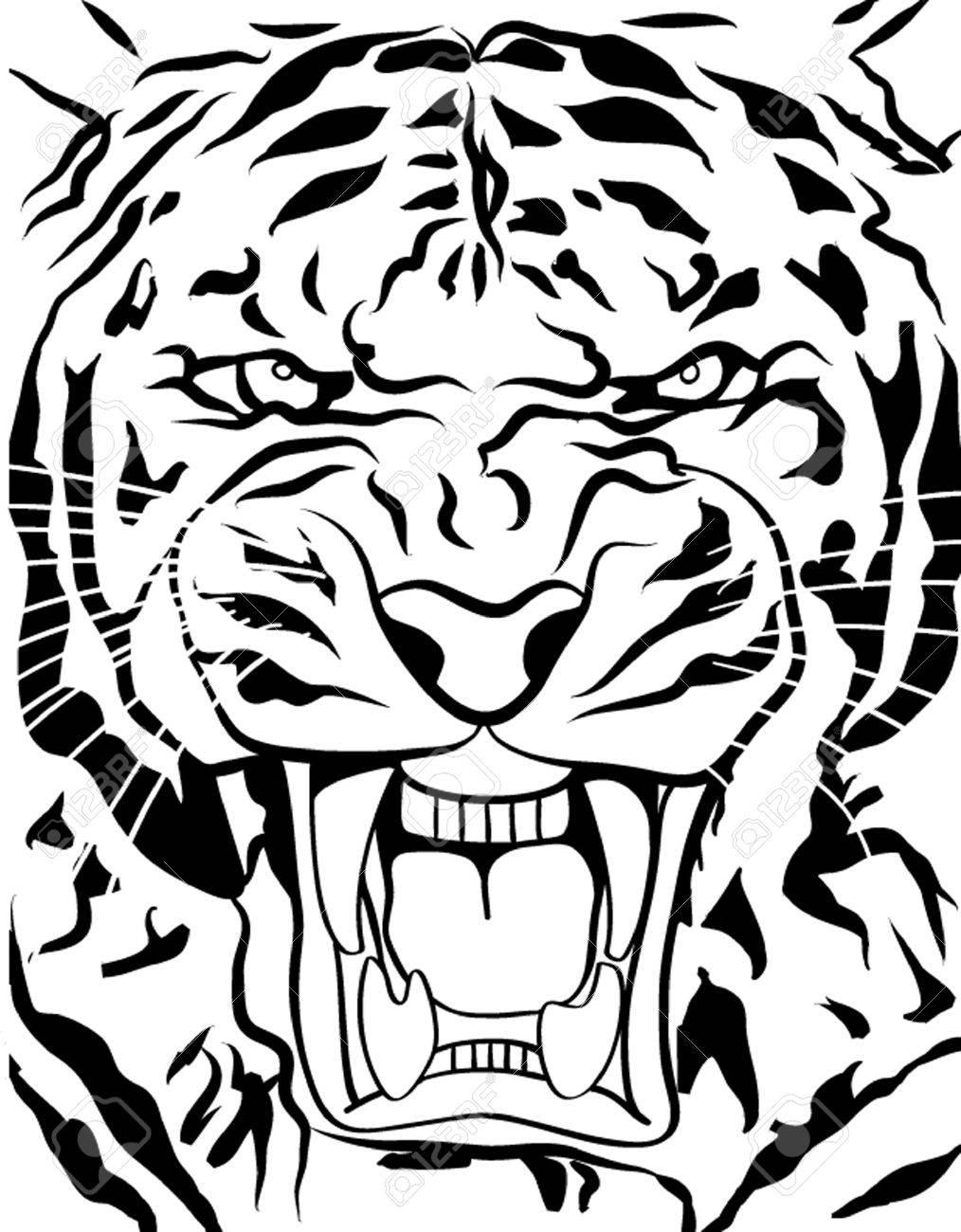 1014x1300 26128900 Tiger Roaring Outline Stock Vector
