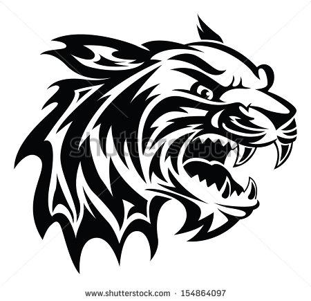 450x435 Roaring Tiger Head Tattoo Design Vintage Engraved Illustration