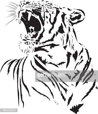 386x448 Tiger Roar Premium Clipart