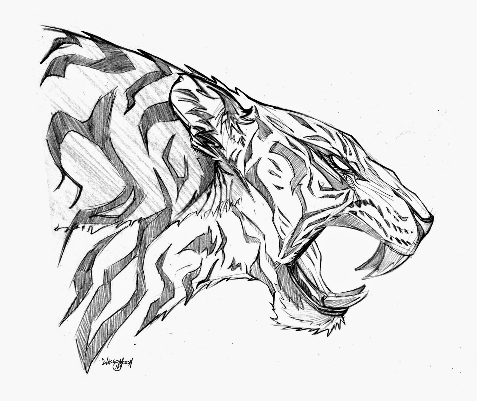 1600x1344 Tiger Side Face Drawings Drawn White Tiger Roar