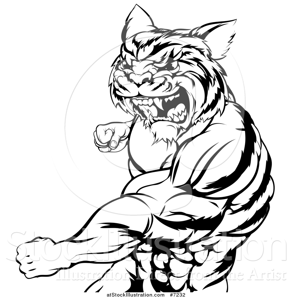 1024x1044 Vector Illustration Of A Black And White Vicious Roaring Muscular