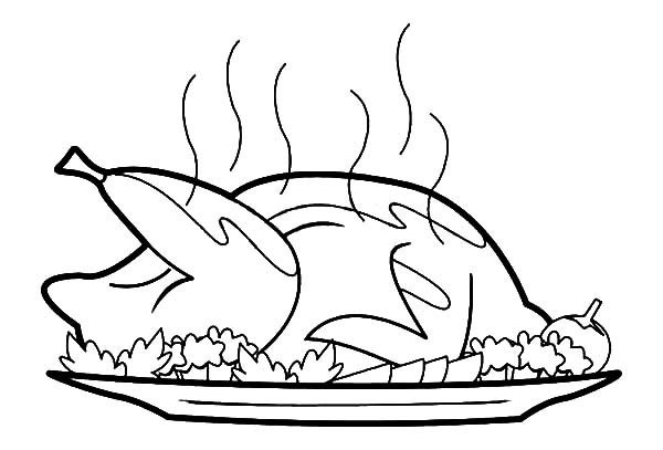Roast chicken drawing at free for for Cooked turkey coloring pages