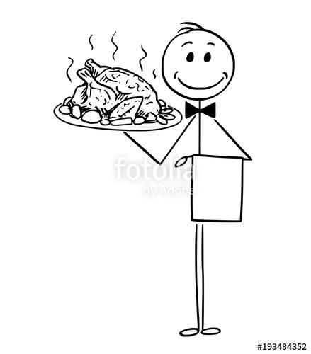439x500 Cartoon Stick Man Drawing Conceptual Illustration Of Waiter