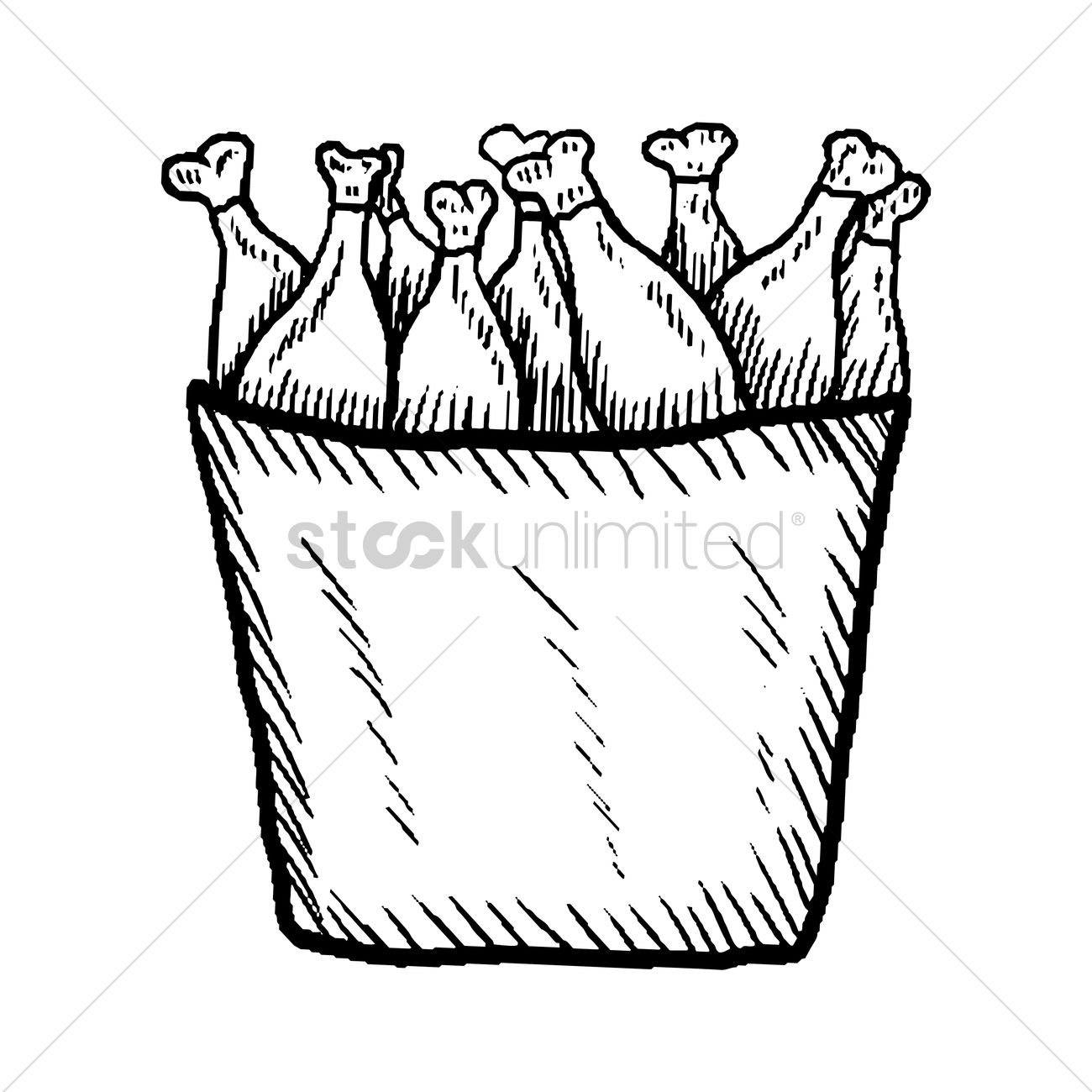 1300x1300 Chicken Drumsticks In A Bucket Vector Image