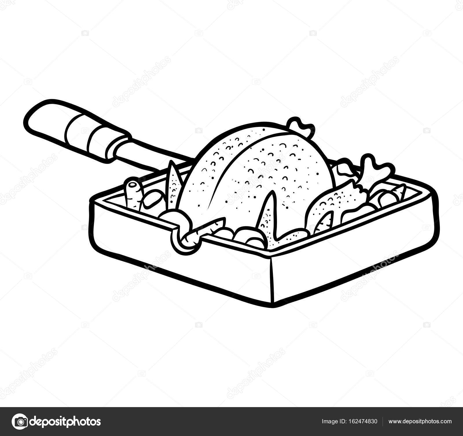 1600x1508 Coloring Book, Roasted Chicken In A Frying Pan Stock Vector