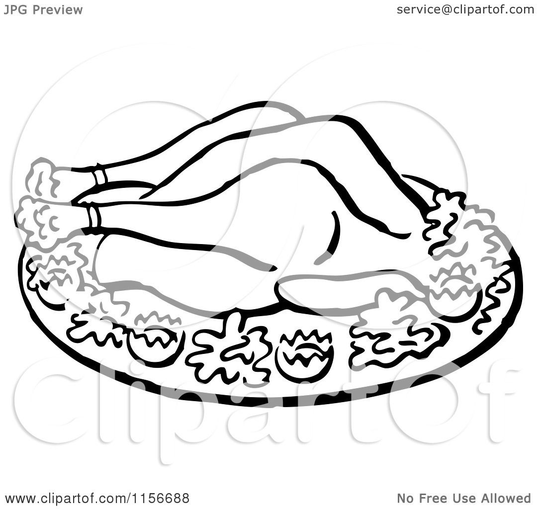 1080x1024 Clipart Of A Black And White Retro Roasted Chicken
