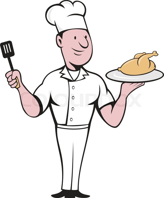 666x800 Illustration Of Chef Cook Standing Serving Roast Chicken On