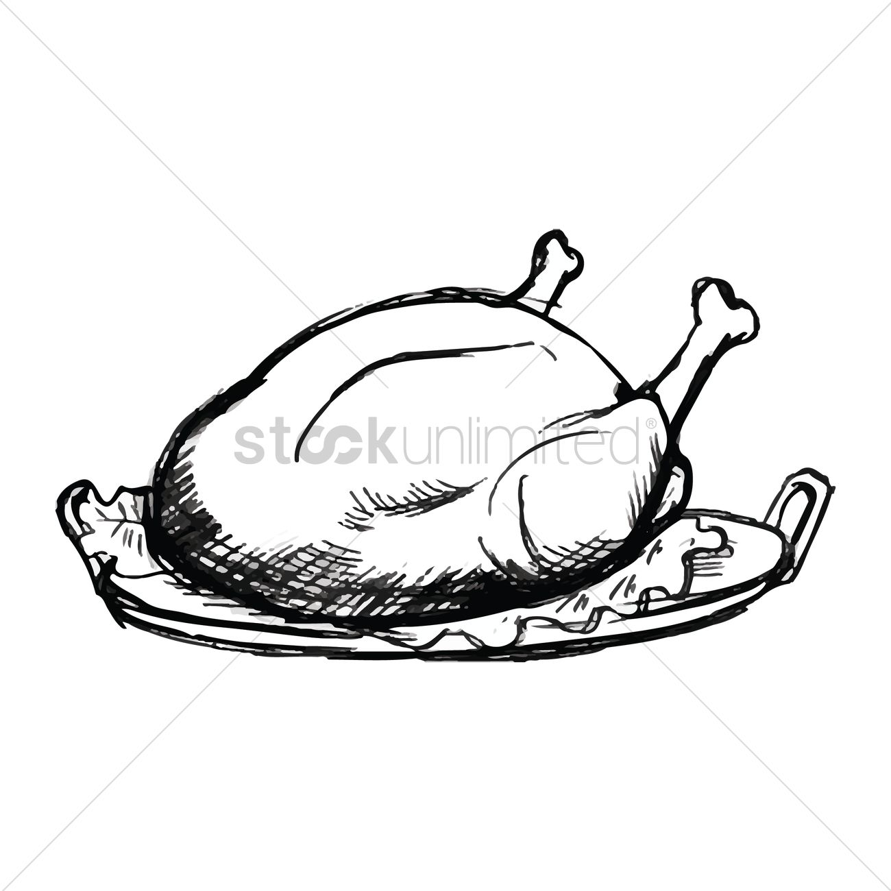 1300x1300 Roasted Chicken Vector Image
