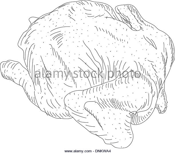612x540 Whole Roasted Chicken Christmas Dinner Black And White Stock