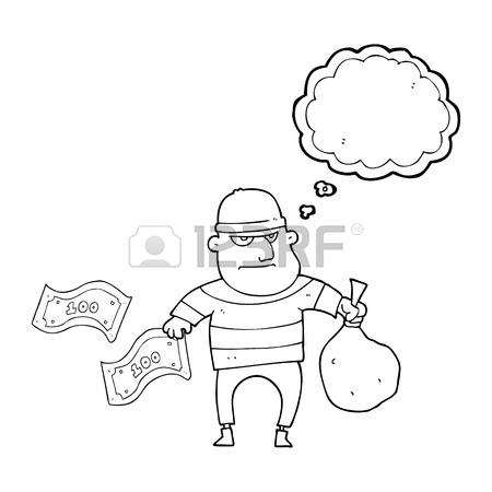 450x450 Freehand Drawn Thought Bubble Cartoon Bank Robber Royalty Free