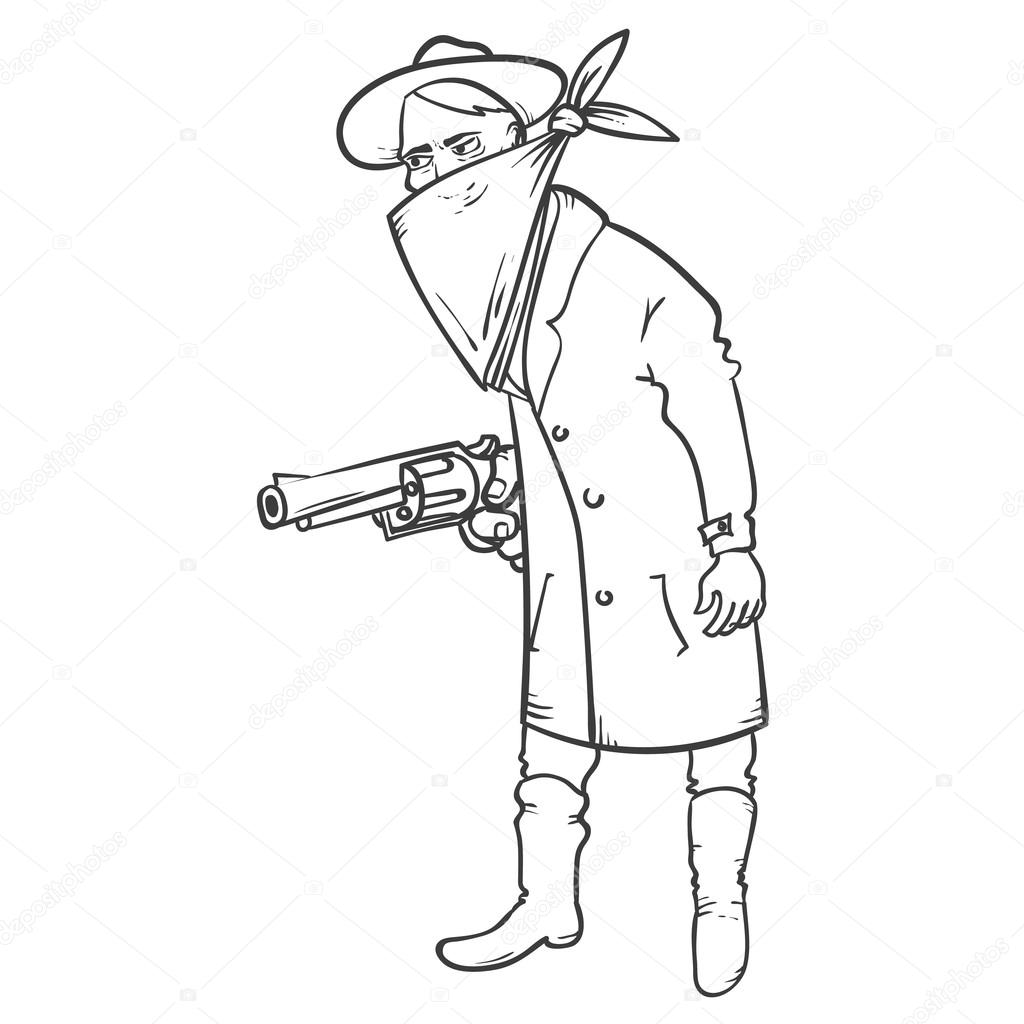 1024x1024 Wild West Robber With Gun Hand Drawn Illustration Stock Vector