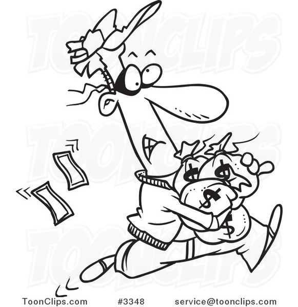 581x600 Cartoon Black And White Line Drawing Of A Robber Getting Away