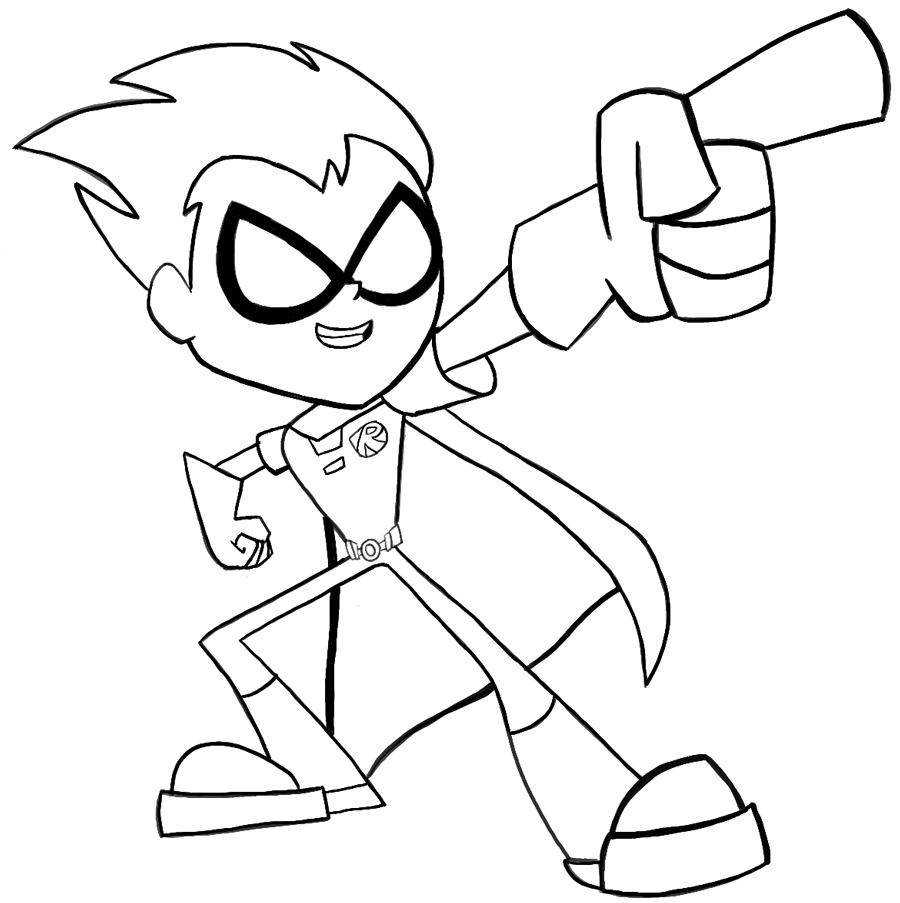 900x903 Finished Black And White Drawing Of Robin From Teen Titans Go