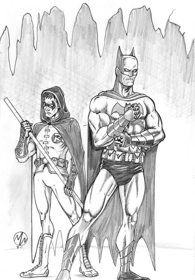 747x1070 Batman And Robin Pencil Sketch By Wedmer