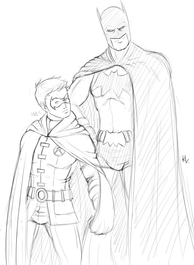 It is an image of Effortless batman and robin coloring pages