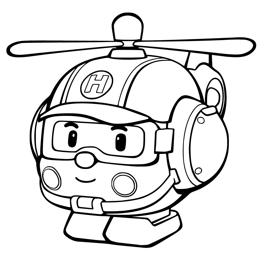 1024x1024 Robocar Poli Rescue Helicopter Colouring Page