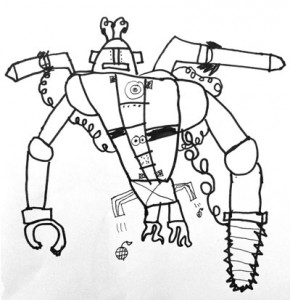 290x300 Robot Line Drawing Robot, Drawings And Art Lessons