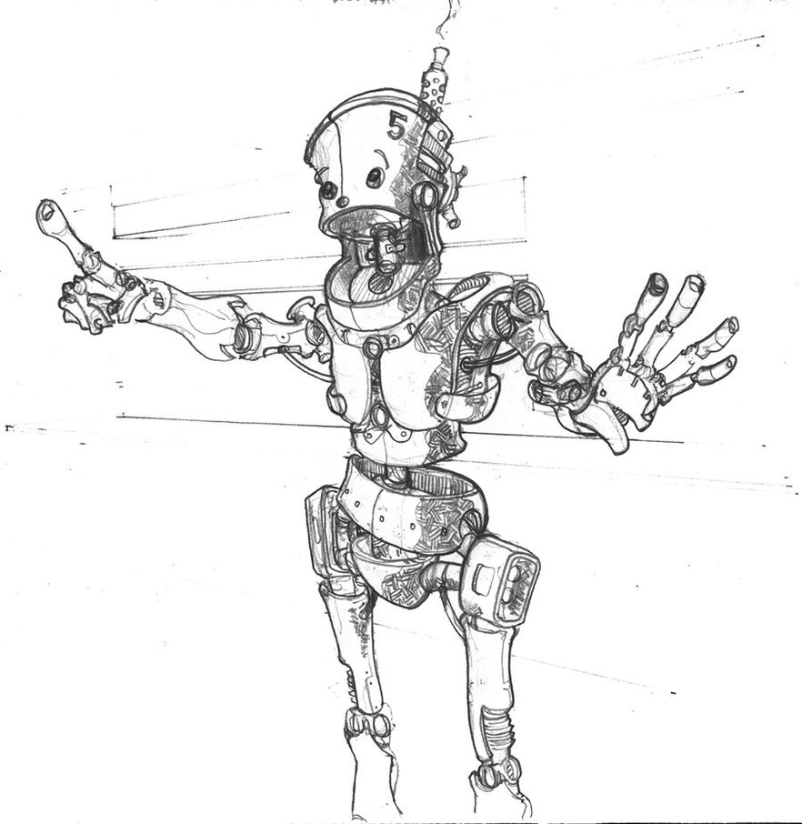 882x906 Pencil Sketch Of Robot Robot Surprise