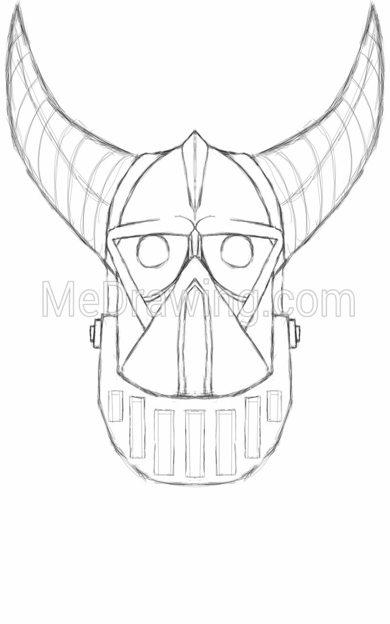 800x1280 Horned Robot Mask Sketch