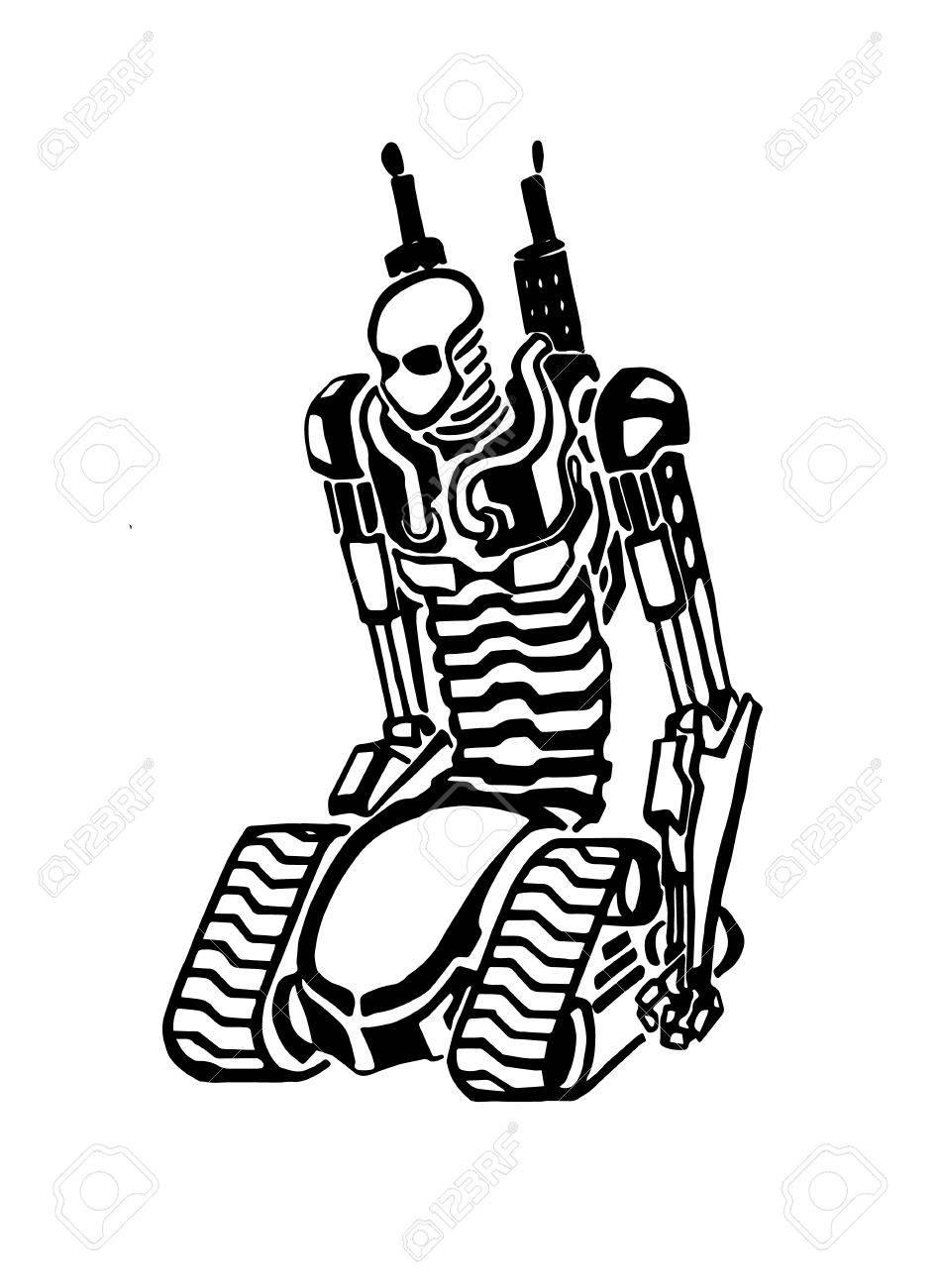 949x1300 Sketch Creative Robot. Vector Illustration Of Unusual