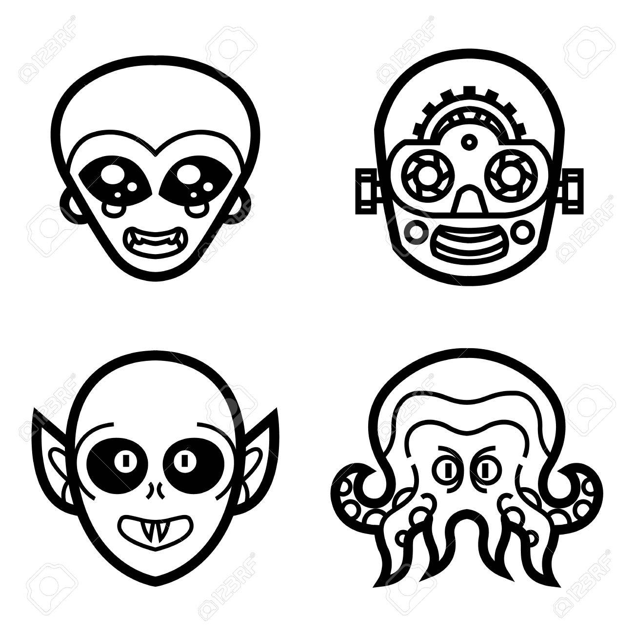 1300x1300 Vampire Ghoul Alien Extraterrestrial Robot Cyborg Monsters Cute