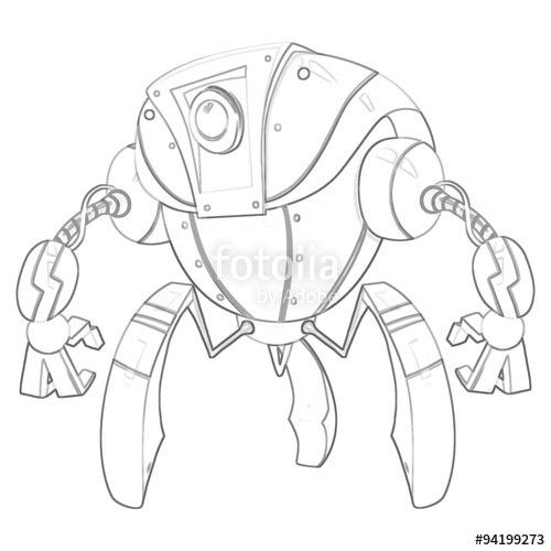 500x500 Illustration Coloring Book Series Robot. Soft Thin Line. Print