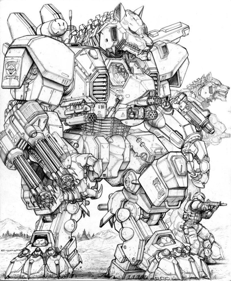 810x986 Rifts Ng V61 Gunwolf Robot By Chuckwalton