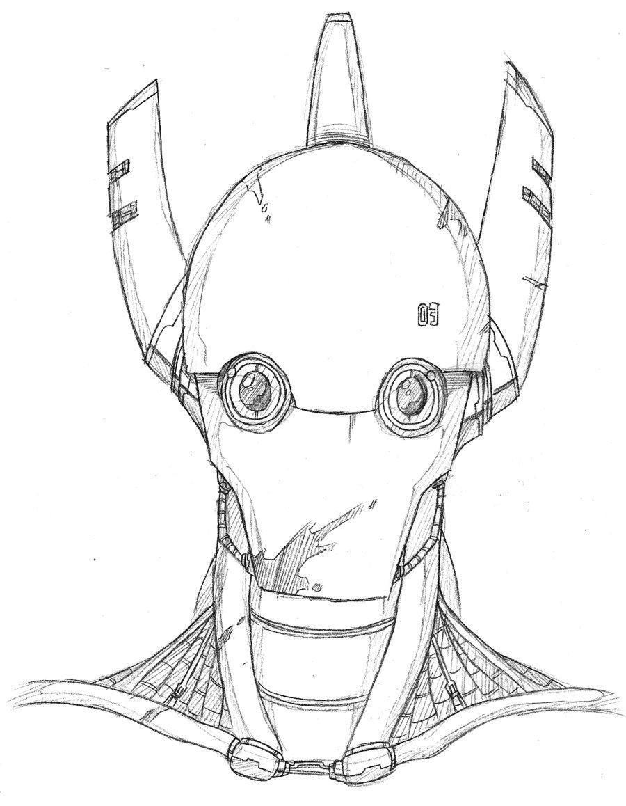 900x1158 Robot Head Drawing