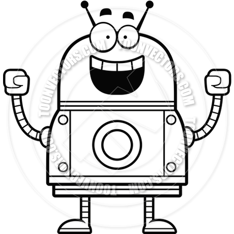 460x460 Celebrating Robot (Black And White Line Art) By Cory Thoman Toon