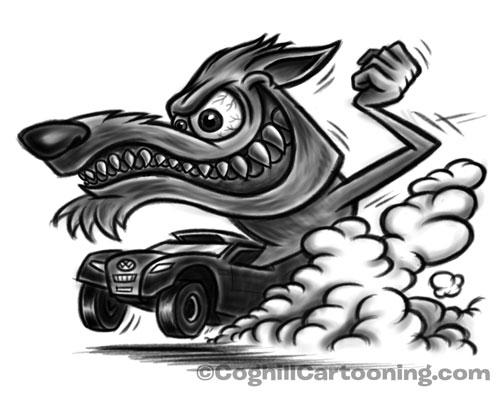500x395 Volkswagen Baja Team Wolf Mascot Character Sketches