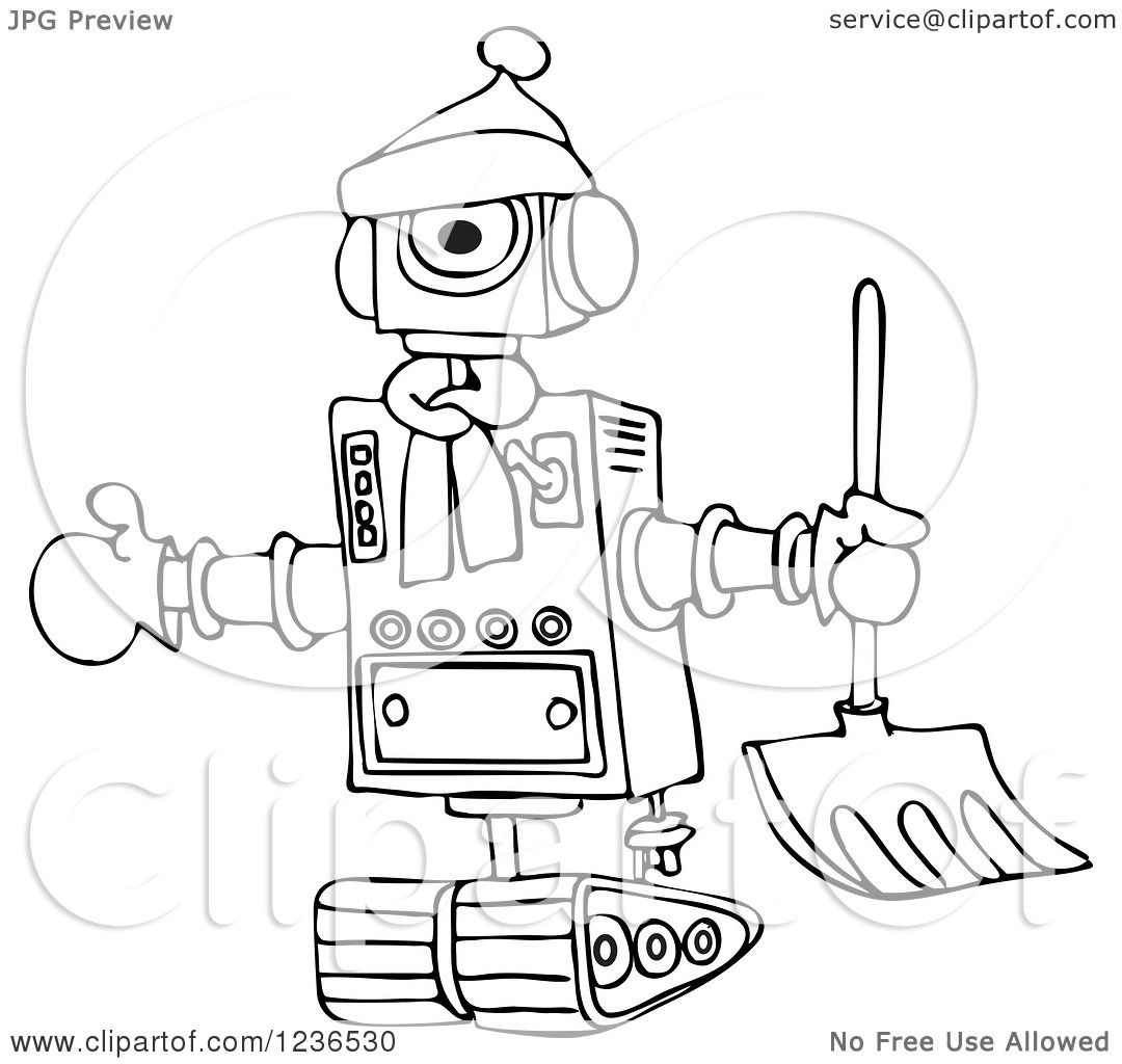 1080x1024 Clipart Of A Black And White Winter Robot With A Snow Shovel