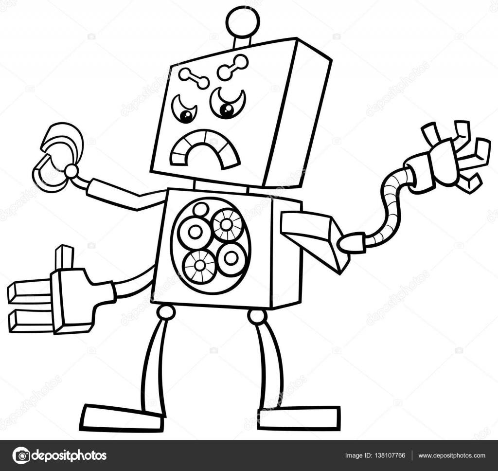 1024x968 Cartoon Robot Coloring Page Stock Vector Izakowski