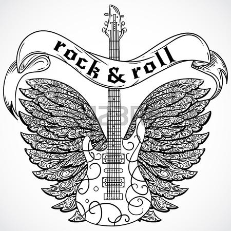 450x450 Rock'N Roll Poster Guitar Graphic Design Tee Vector Art Royalty