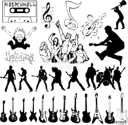 500x489 Rock'N Roll Collage (Vector) Stock Image And Royalty Free Vector