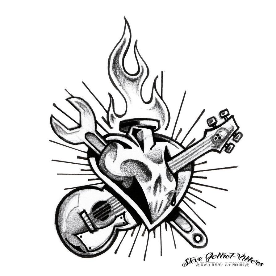 894x894 Rock N Roll Heart By Stevegolliotvillers