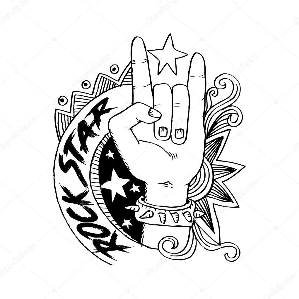 1021x1024 Doodle Hand Sign Rock N Roll Music Stock Photo Handini