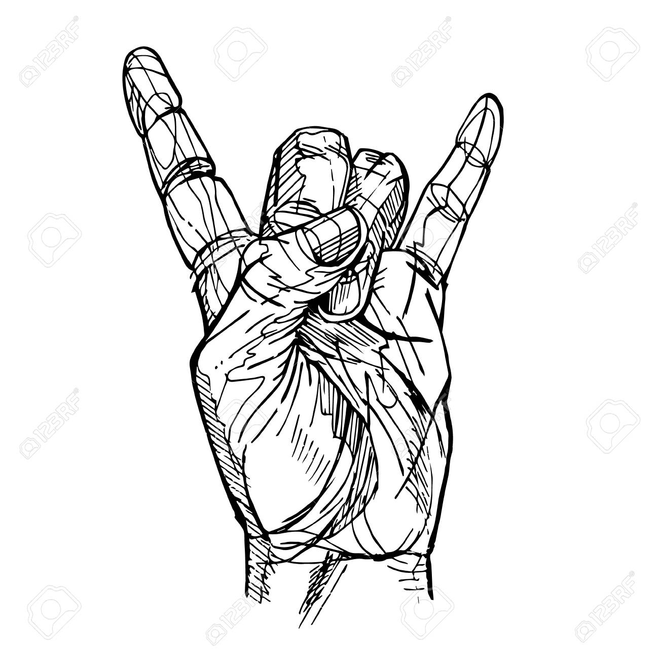 1300x1300 Rock Roll Hand Sign Sketch Royalty Free Cliparts, Vectors,