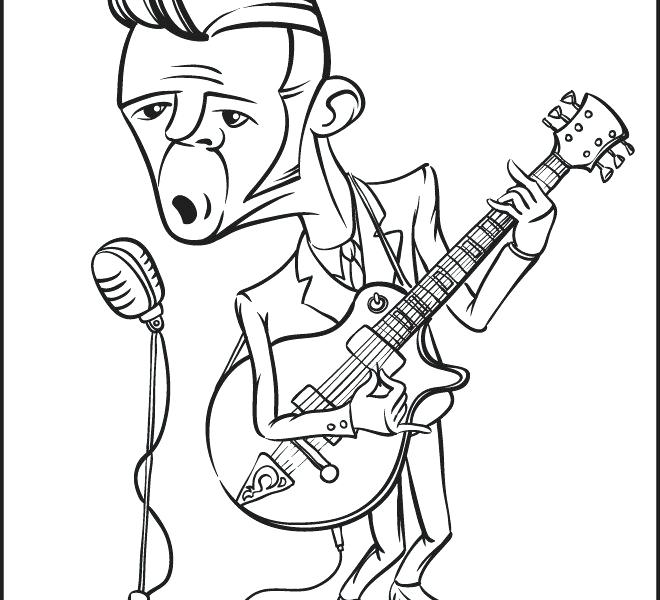 660x600 Rock N Roll Coloring Pages Vector Conceptual Illustration