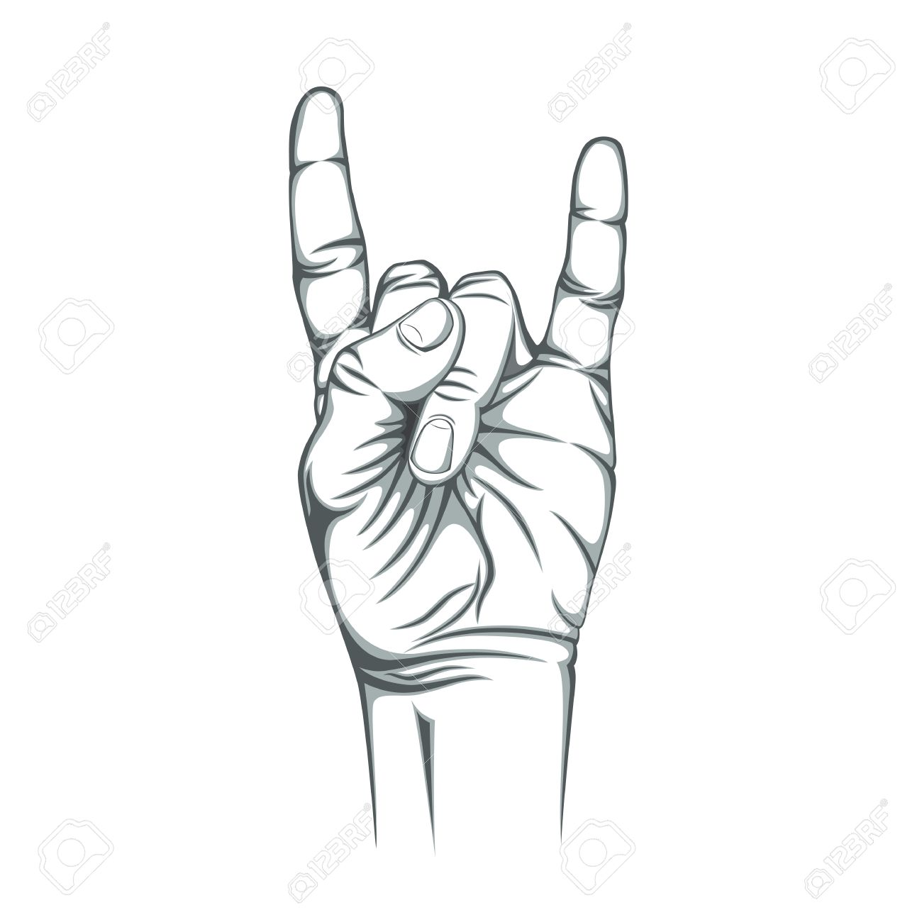 1300x1300 Rock N Roll Sign, Isolated On White Background. Hand. Vector