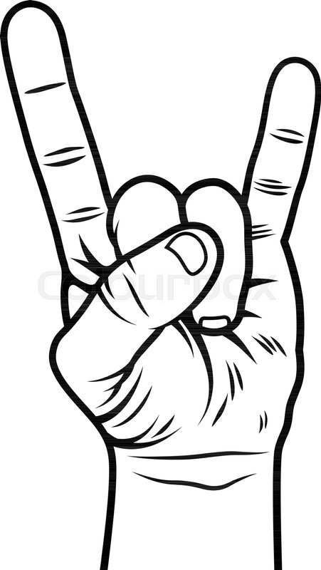 451x800 Rock And Roll Hand Sign. Sign Of The Horns. Vector Stock Vector