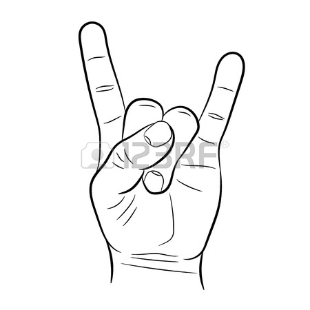 450x450 Sign Hand Rock Amp Roll Heavy Metal On White Background Of Vector