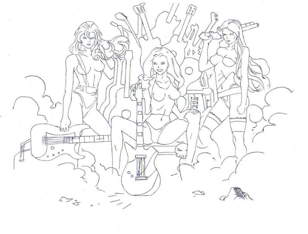 1024x780 Girls Rock Band Drawing (Inked 150dpi) By Electronicdave