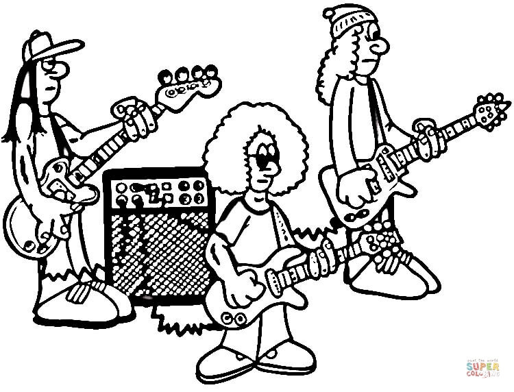 750x572 Rock Band Animal Coloring Page Rock Guitar Adult Coloring Pages