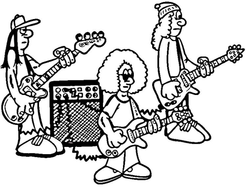 480x366 Rock Band On Rehearsal Coloring Page Free Printable Coloring Pages