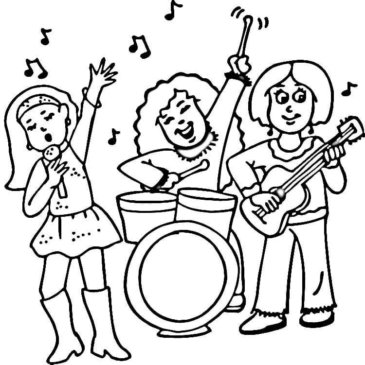 750x751 Concert Of Rock Band Musical Intrument Coloring Page